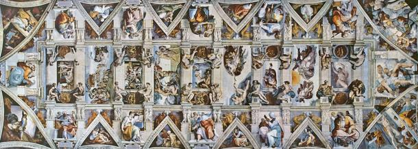 The ceiling of the Sistine Chapel (1508-1512) by Michelangelo.