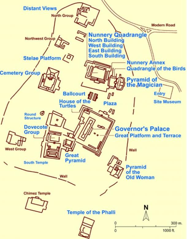 A Site Map of Uxmal.