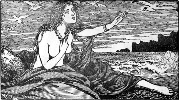 Skadi's longing for the Mountains (1908) by W. G. Collingwood