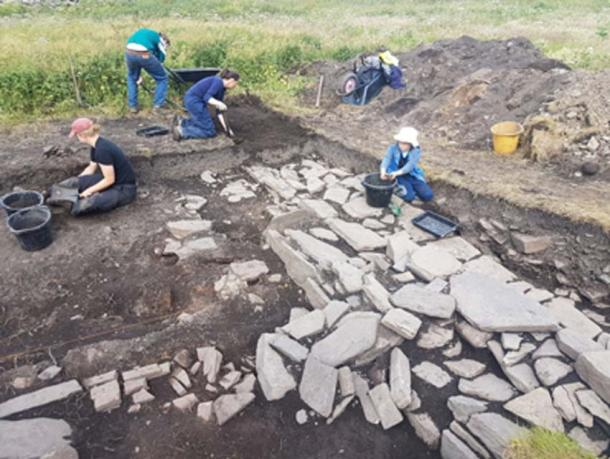 Skaill Norse Hall exposing more of the northern wall of the 'drinking hall'. (UHI Archaeology Institute)