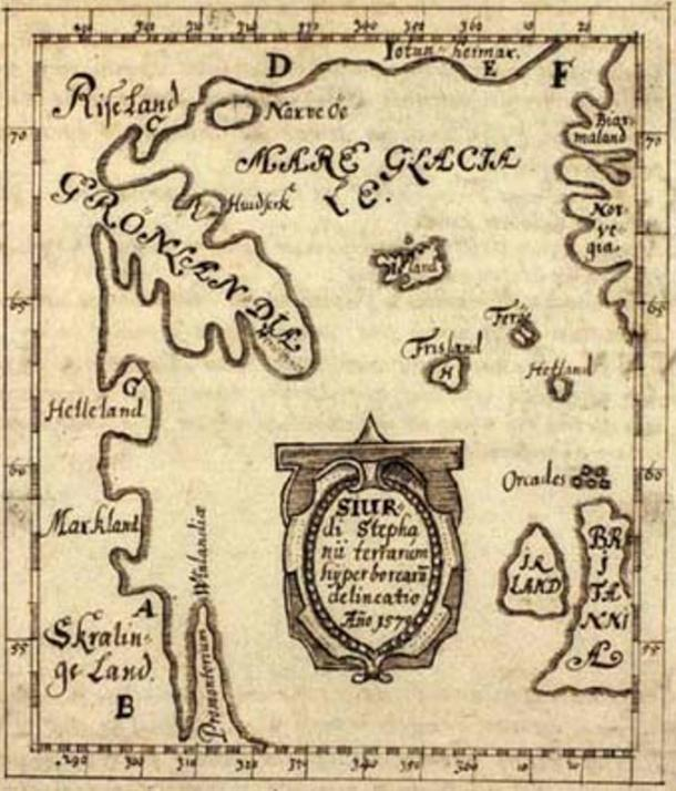 The Skálholt Map made by the Icelandic teacher Sigurd Stefansson in the year 1570. Helleland ('Stone Land' = Baffin island), Markland ('forest land' = Labrador), Skrælinge Land ('land of the foreigners' = Labrador), Promontorium Vinlandiæ (the of Vinland = Newfoundland).