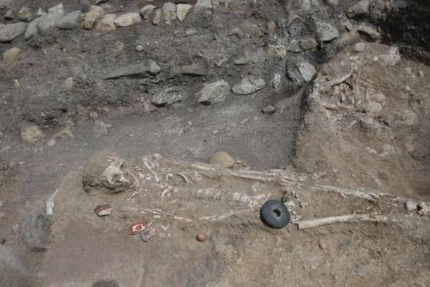Skeletal remains found at the archaeological site.