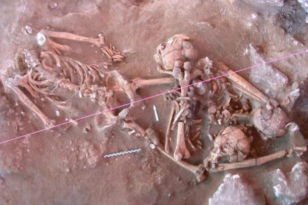 Skeletons of the Lapita people unearthed at a 3,300-year-old cemetery at Teouma on Efate Island. (Frederique Valentin / PNAS)