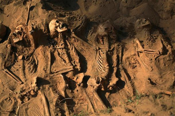 Skeletons buried in soil, representation of the results of genocides. (asayenka / Adobe stock)