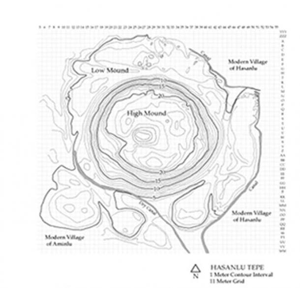 Sketch map of Hasanlu Tepe, located south of Lake Urmia in what is now the Western Azerbaijan Province of Iran.