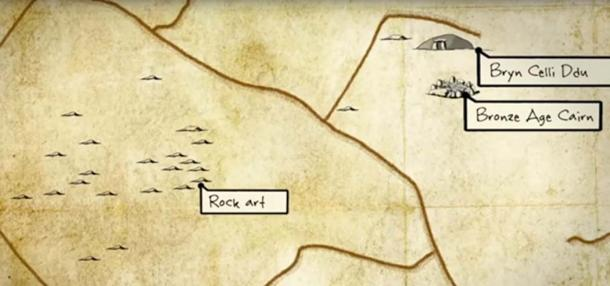 Sketch map showing multiple cairns plus rock art local to Bryn Calli Ddu