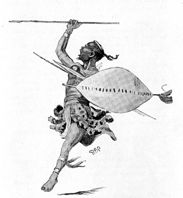 Sketch of a Zulu warrior wearing traditional clothing and using standard weaponry.