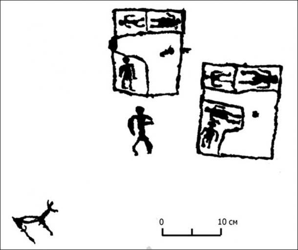 Sketch of a 'floorplan' petroglyph (Images: Marina Kilunovskaya)