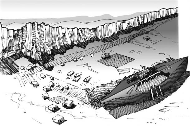 Sketch of the landing site on Mashu or Mesha Mountain as the survivors began to construct the first post-Flood city—Mesha. (David Allen Deal).