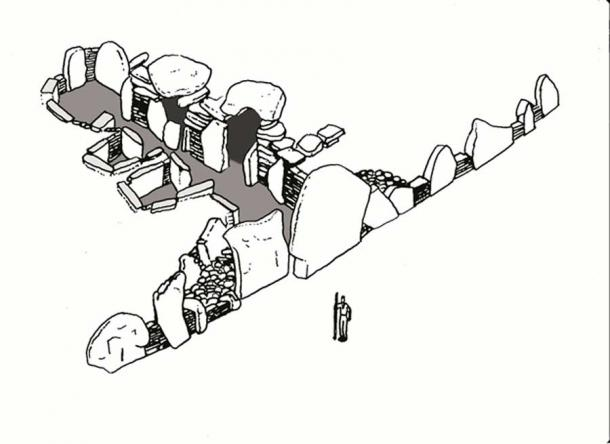 Sketch of the size of West Kennet long barrow in relation to a human (Image © Steve Marshall)