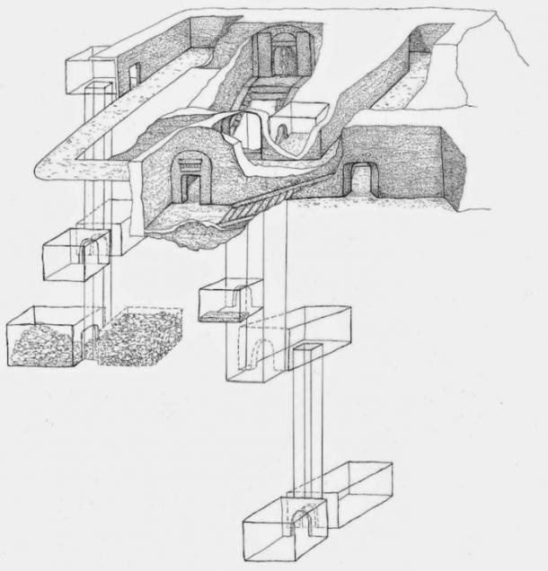 Sketch showing the outline of the tomb of Osiris