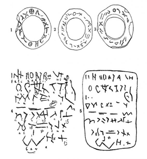 Sketches of inscriptions on the Glozel tablets and artifacts.