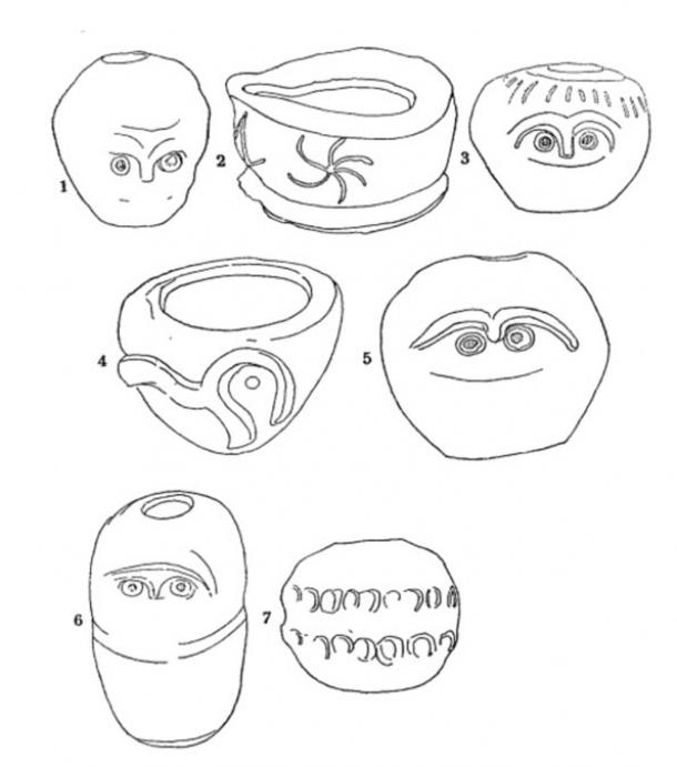 Sketches of pottery found at Glozel.