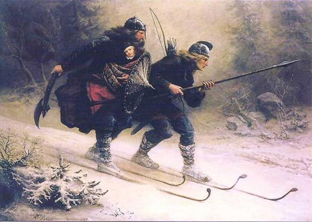 Skiing Birchlegs Crossing the Mountain with the Royal Child by Knud Larsen shows the Birkebeiner skiers Torstein Skevla and Skjervald Skrukka rescuing the young Håkon