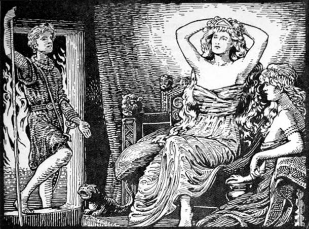 Skirnir's Message [from Freyr] to Gerd (1908) by W. G. Collingwood.