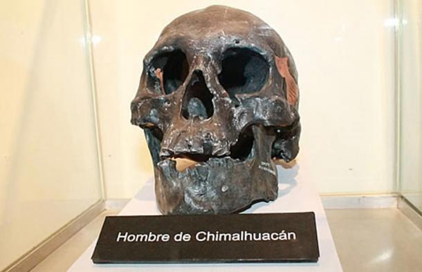 The Skull of Chimalhuacán Man, in the eastern part of Mexico State, Mexico.