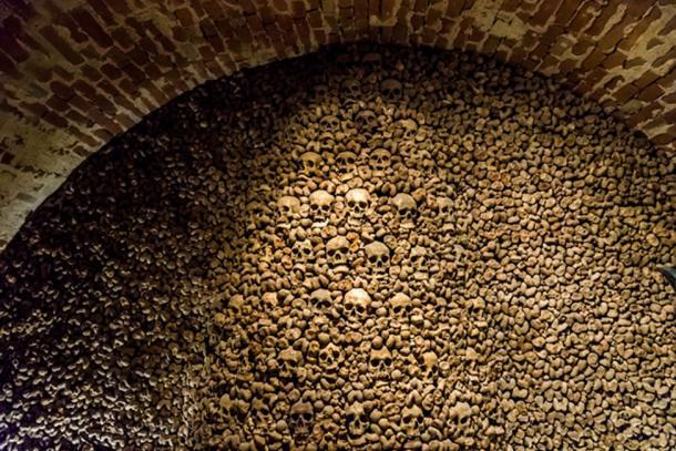 Skulls and bones from charnel house. (Martin / Adobe)