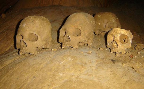 Skulls found in the Cave of Ancestors in Puyil, Tacotalpa, Tabasco, Mexico. (INAH)