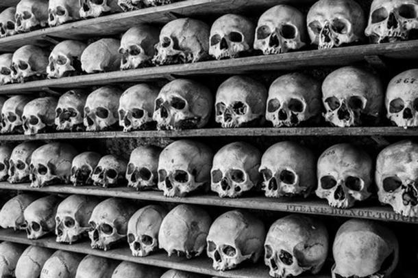 Skulls kept on shelves at the charnel house. (Courtesy of TripAdvisor)