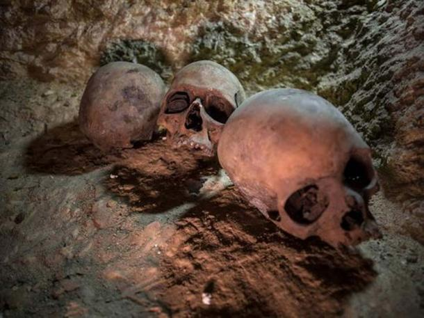 Skulls were uncovered at the ancient Egyptian cemetery, in Minya province, Egypt. (Image: Ibrahim Youssef, EPA)