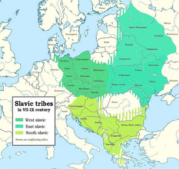 Map of Slavic tribes in 7th-9th century showing how far the different Slavic tribes spread causing changes to their language. (Jirka.h23 / CC BY-SA)
