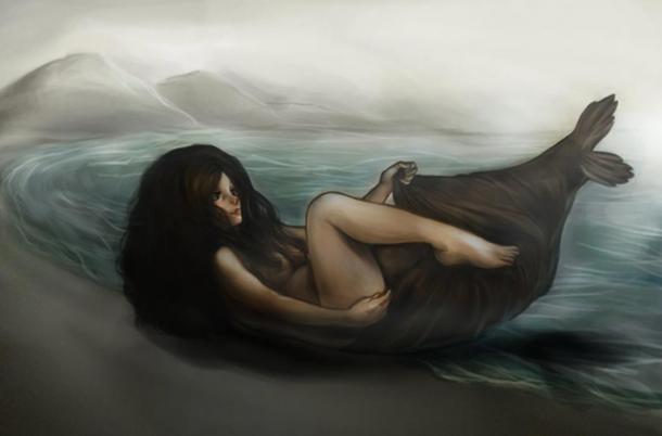 Illustration of a Slekie losing its skin.