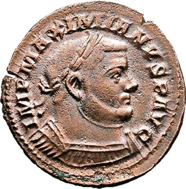Small bronze coin (denarius?) of Maximianus Herculius. (Aaron Bruce/CC BY SA 3.0)