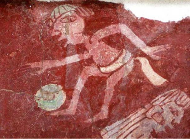 Small detail of a reproduction of a mural at the Tepantitla complex of Teotihuacan depicting a ball player