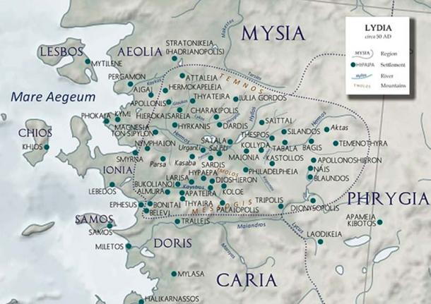Smyrna among the cities of Ionia and Lydia (ca. 50 AD). (CC BY-SA 4.0)