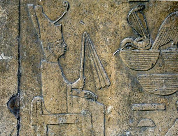 Detail of a relief showing Sneferu wearing the white robe of the Sed-festival, from his funerary temple of Dahshur and now on display at the Egyptian Museum.