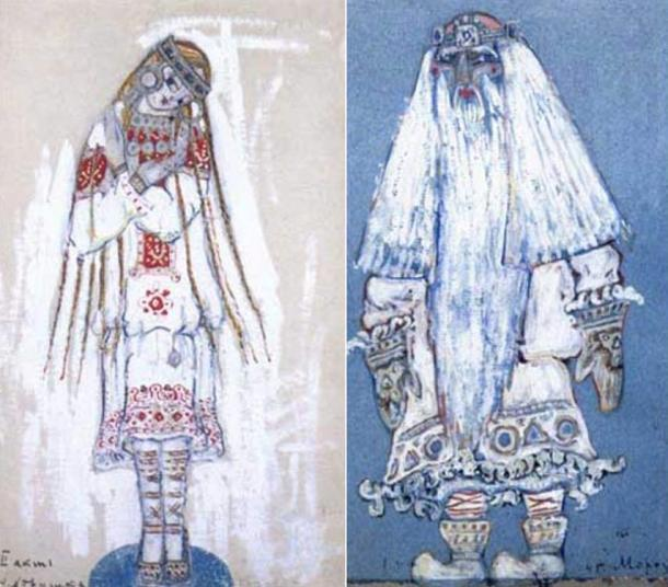 1912 paintings of Snow Maiden and Father Frost by Nicholas Roerich.