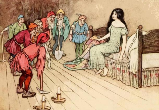 Snow White and the Seven Dwarfs – note the tools with the dwarfs.