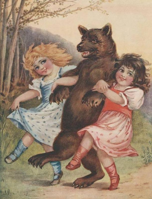 Snow-white and Rose-red with the bear.