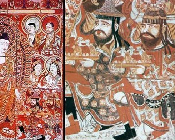 Sogdian merchants making donations to Buddha. 9th century fresco from the Bezeklik Thousand Buddha Caves near Turfan, Xinjiang, China.
