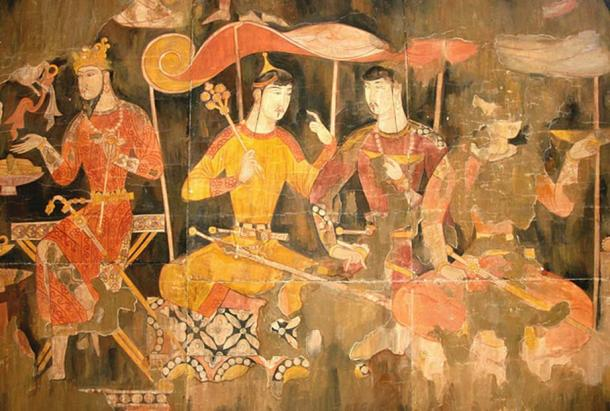 Sogdian painting showing Sogdian merchants during the medieval period.
