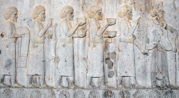 Sogdians on an Achaemenid Persian relief from the Apadana of Persepolis, offering tributary gifts to the Persian king Darius I, 5th century BC