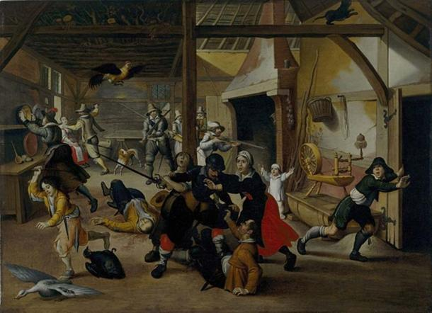 Soldiers plundering a farm during the thirty years war by Sebastian Vrancx, 1620