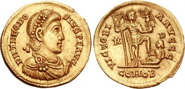 Solidus coin of Theodosius I. 379-395 AD. (Classical Numismatic Group, Inc/CC BY SA 2.5)