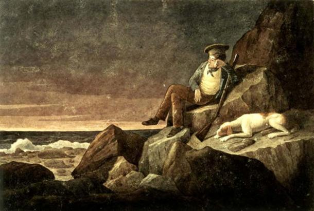 Solitude, watching the horizon at sun set, in the hope of seeing a vessel, Tristan da Cunha in the South Atlantic (1824) by Augustus Earle.