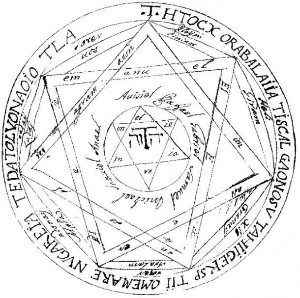 """This is the general pentacle, called the Great (or Grand) Pentacle It should be written on sheepskin paper or virgin parchment, the which paper should be tinted green."