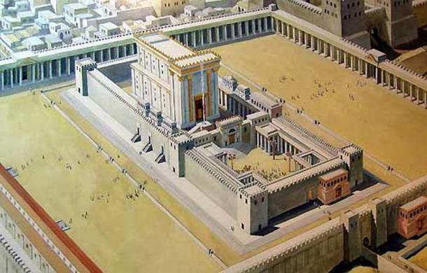 An illustration of Solomon's Temple in Jerusalem.