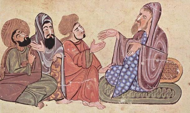 Solon, depicted with pupils in an Islamic miniature.
