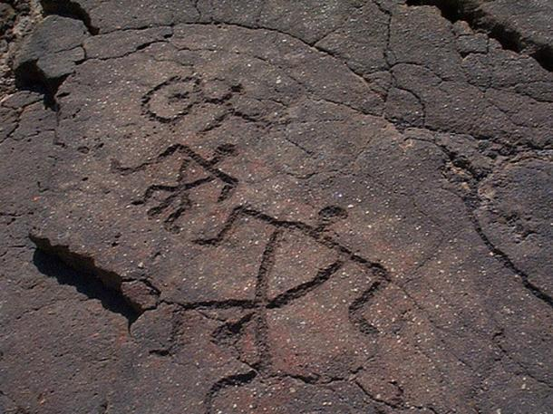 Some Hawaiian petroglyphs.
