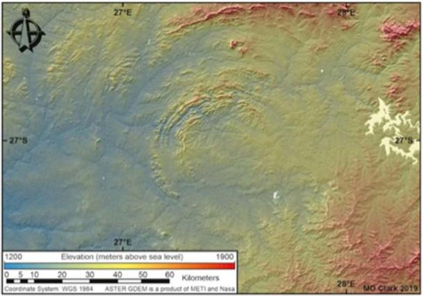 Some of the Vredefort Crater's multiple rims have eroded away, but from space, what is left is clear. (Dr. Matthew Huber / University of the Free State)