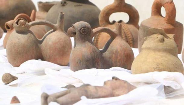Some of the artifacts recovered from the Pre-Inca site.