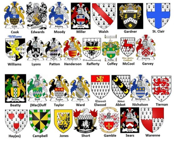Some of the coats of arms belonging to the 400 ancestral Celtic families.