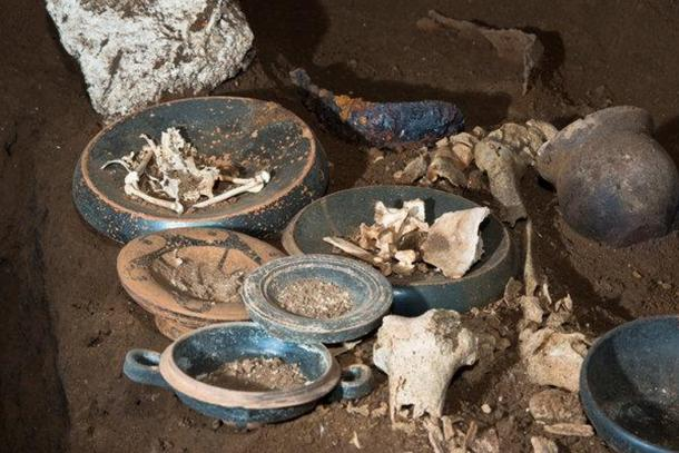 Some of the funerary wares found in a chamber tomb near Rome. (Romano D'Agostino, Special Superintendence for Rome)