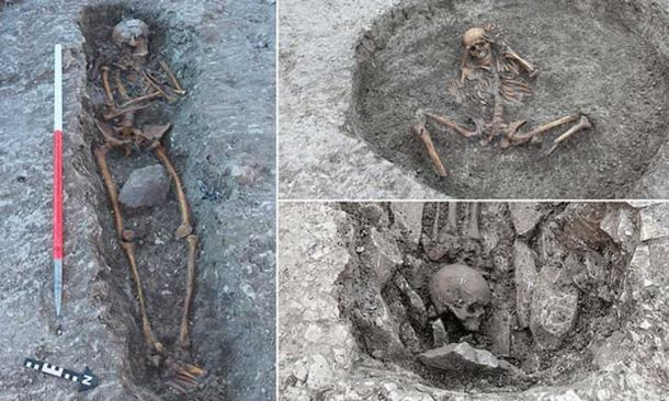 Some of the human remains found in the ancient death pit in Oxfordshire, England. Source: Thames Water