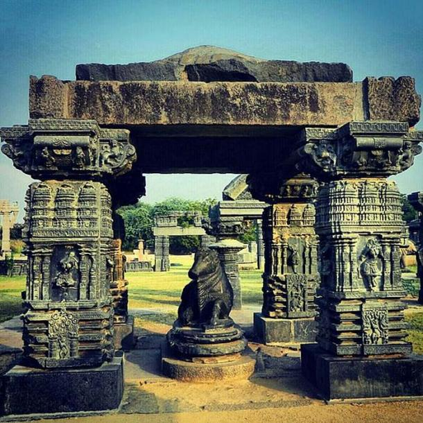 Some of the surviving beautifully ornate pillars at Warangal Fort