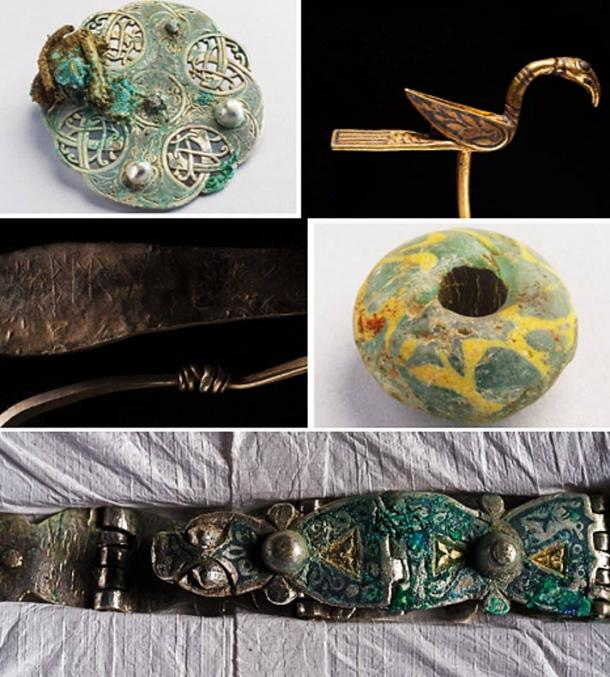 Some of the treasures: A silver disk brooch decorated with intertwining snakes or serpents (Historic Scotland), a gold, bird-shaped object which may have been a decorative pin or a manuscript pointer